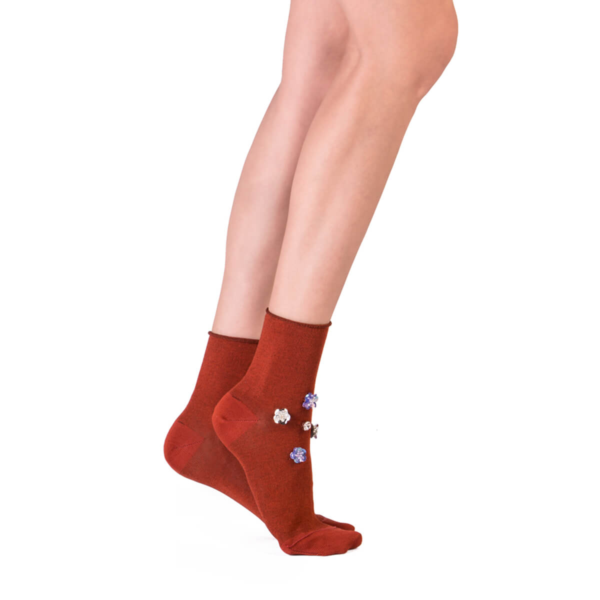 Jeweled Ankle Socks - Orange