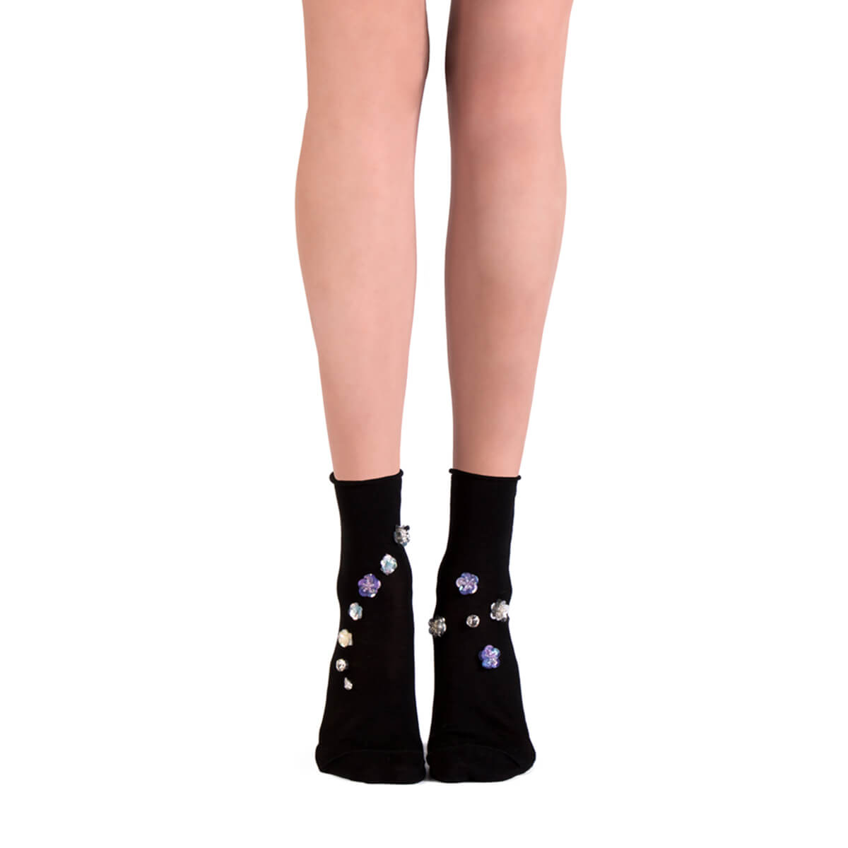 Jeweled Ankle Socks - Nero