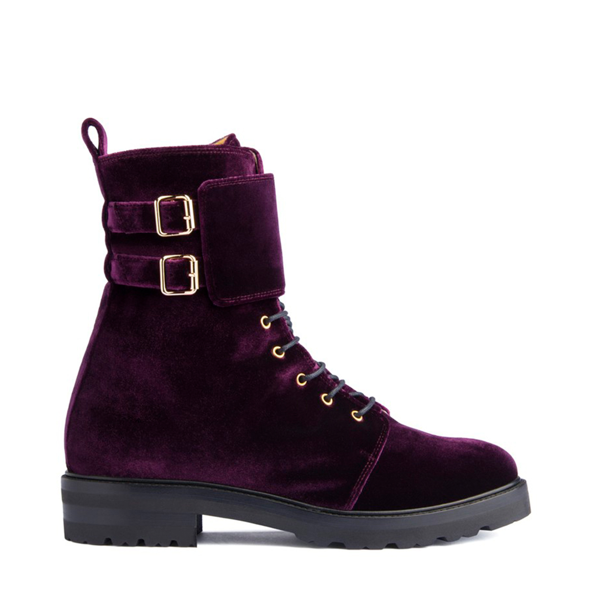 Lace-Up Ankle Boots - Purple