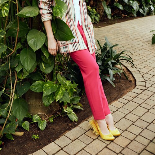 Plumes Slingback Pumps Yellow