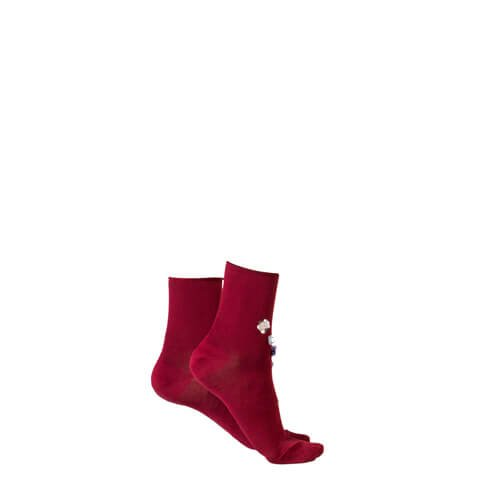 Jeweled Ankle Socks Red