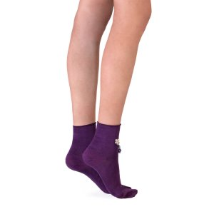 Jeweled Ankle Socks - Viola