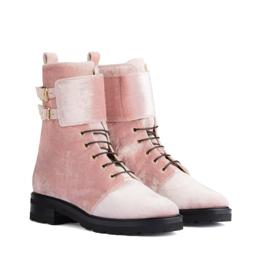 Lace-Up Ankle Boots Pink