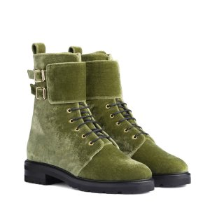 Lace-Up Ankle Boots - Olive green