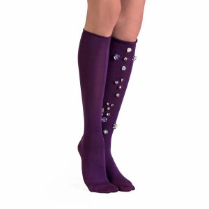 Jeweled Knee Socks - Viola