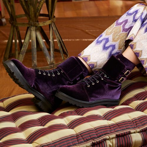 Lace-Up Ankle Boots Purple