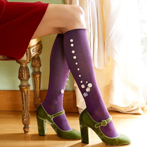 Jeweled Knee Socks Purple