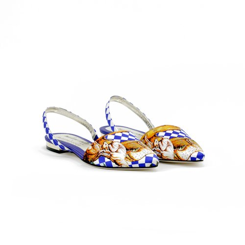 Slingback flat  Madame Cosette x Laboratorio Capri Electric blue